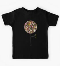 Whimsical Pink Pop Tree with Colorful Spring Flowers Kids Tee