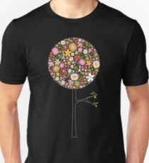 Whimsical Pink Pop Tree with Colorful Spring Flowers Unisex T-Shirt