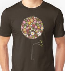 Whimsical Pink Pop Tree with Colorful Spring Flowers T-Shirt