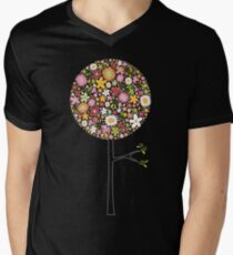 Whimsical Pink Pop Tree with Colorful Spring Flowers Mens V-Neck T-Shirt
