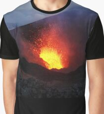 Scenery night eruption volcano on Kamchatka Peninsula Graphic T-Shirt
