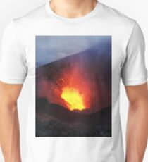 Scenery night eruption volcano on Kamchatka Peninsula Unisex T-Shirt