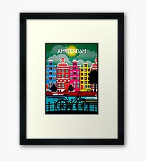 BICYCLE RIDING; In Amsterdam Holland Print Framed Print
