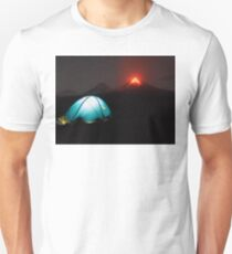 Illuminated tourist tent at night on background of erupting Klyuchevskaya Sopka Unisex T-Shirt