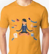Businesswoman in Yoga Pose Searching the Balance at Multitasking Work T-Shirt
