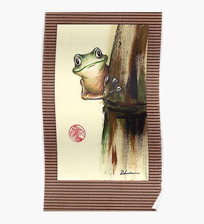 HOWDY NEIGHBOR - Original Painting Barred Leaf Treefrog Poster