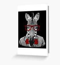 Hipster Zebra Greeting Card