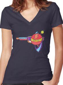 Alien Lightning Blaster Women's Fitted V-Neck T-Shirt