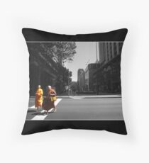 Monk Crossing Throw Pillow