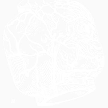 Veins of head (white) by burntwoodstudio