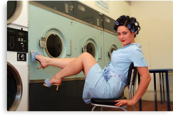 Retro Pin Up - Laundry Day by Tee Brain Creative