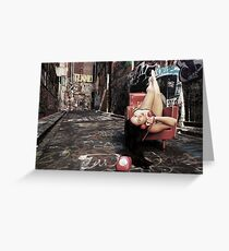"""Retro Pin Up, """"Wish you were here..."""" Greeting Card"""
