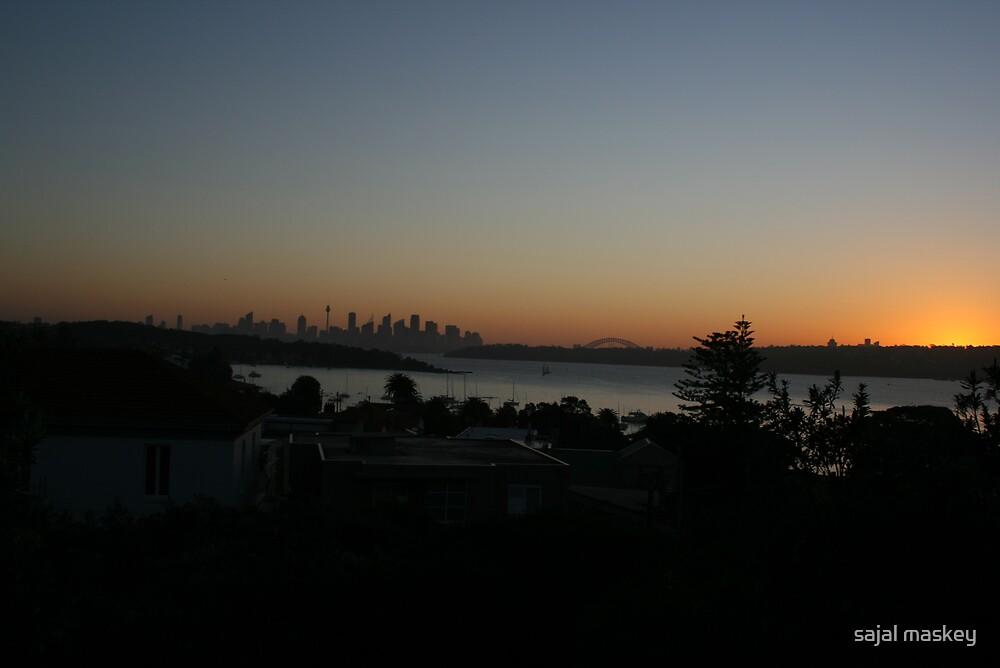 sydney city with sunset by sajal maskey