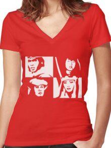 Monkey Magic - White Women's Fitted V-Neck T-Shirt