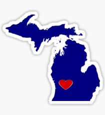 Michigan with Heart Location Sticker