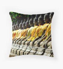 Buddha Row Throw Pillow