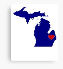 Michigan with Heart Location Canvas Print