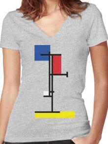 Mondrian Minimalist De Stijl Modern Art III Women's Fitted V-Neck T-Shirt