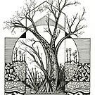 Spring Cherry Blossom, Ink Tree Drawing by Danielle Scott