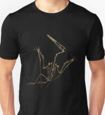 Fossil Record - Gold Pterodactyl Fossil on Black Canvas #4 Unisex T-Shirt