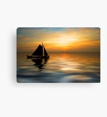 Sailing and sunset Canvas Print