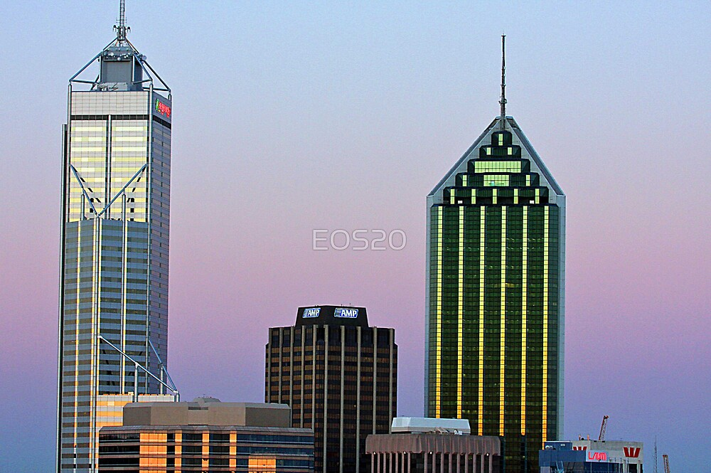 Perth City Towers At Sunset  by EOS20