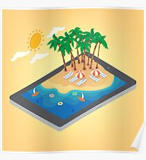 Summertime Tropical Vacation Isometric Concept. Exotic Island with Palm Trees on Smartphone Poster