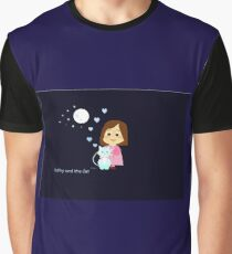 Cathy and the Cat and Moon Graphic T-Shirt