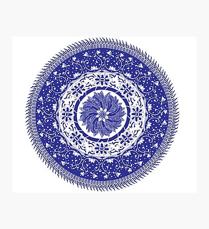 Blue and White Mandala  Photographic Print