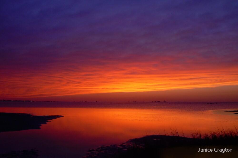 Reflection on Mustang Island Tx by Janice Crayton
