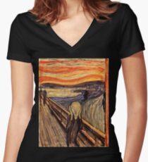 Edvard Munch - The Scream 1893 Women's Fitted V-Neck T-Shirt