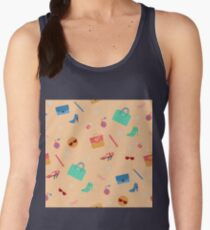 Womens Fashion Seamless Pattern with Accessories, Clothing and Cosmetics Women's Tank Top