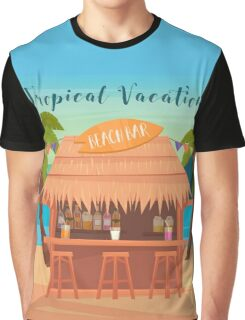 Tropical Vacation Banner with Beach Bar and Palm Trees Graphic T-Shirt