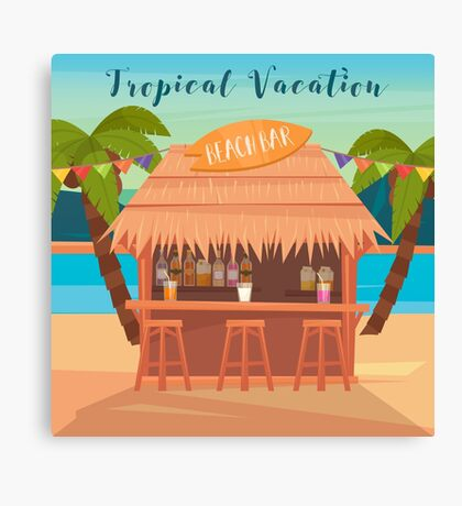 Tropical Vacation Banner with Beach Bar and Palm Trees Canvas Print