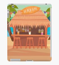 Tropical Vacation Banner with Beach Bar and Palm Trees iPad Case/Skin