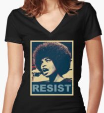 Angela -RESIST Women's Fitted V-Neck T-Shirt