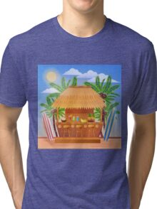 Tropical Vacation Banner with Beach Bar and Palm Trees Tri-blend T-Shirt