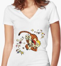 Horseplay - Calvin and Hobbes Women's Fitted V-Neck T-Shirt