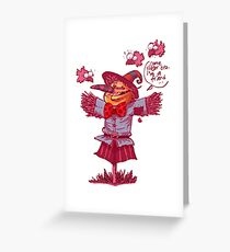 scarecrow gives friendship message cartoon Greeting Card