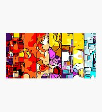 psychedelic geometric graffiti drawing and painting in orange pink red yellow blue brown purple and yellow Photographic Print