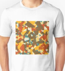 geometric graffiti drawing and painting abstract in brown yellow blue and orange T-Shirt