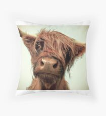 Hairy Coo Throw Pillow