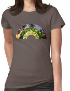 Flora Rainbow with Plumerias, Taro (Kalo) Patch & Palm Tree Sunset Womens Fitted T-Shirt