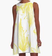 tulip line pattern yellow A-Line Dress