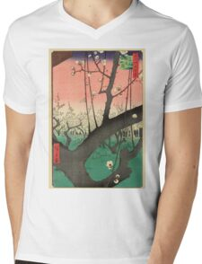 Japanese Art - One Hundred Views of Edo 30 - Plum Garden Kameido (1857) Mens V-Neck T-Shirt