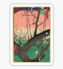 Japanese Art - One Hundred Views of Edo 30 - Plum Garden Kameido (1857) Sticker