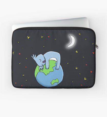Cute Koala Hugging Earth at Night Illustration Laptop Sleeve