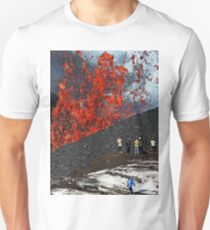 Tourists on background fountain of lava erupting from crater volcano Unisex T-Shirt