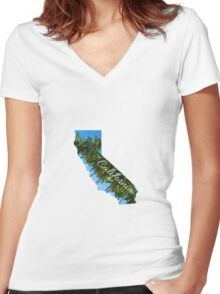 California State Outline with Palms Women's Fitted V-Neck T-Shirt