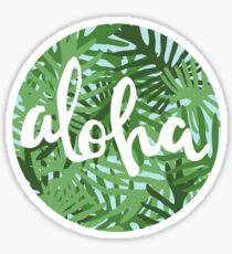 Aloha Leaves Circle Sticker